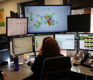 Dispatcher at LifeEMS in Grand Rapids, Michigan, consults a demand surface from ZOLL Dispatch Pro to determine the best posting location for an available ambulance. (Photo/D. Loberger)