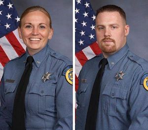 This undated photo combo provided by Kansas City, Kansas police department shows from left, Deputy Theresa King and DeputyPatrick Rohrer. (Kansas City Kansas police department via AP)