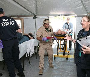 DMATs, part of the National Disaster Medical System boost the nation's medical response in support of state and local authorities during a disaster. (Photo/FEMA)