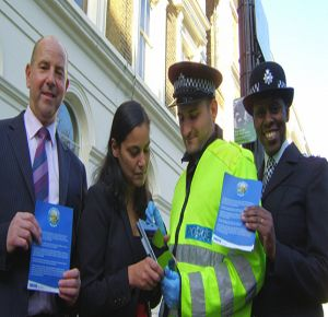 "London police officials oversee the DNA-protected community program. (Far left, Bob Cummings, formerly the head of London's elite ""Flying Squad"" tactical unit) (Source Applied DNA Sciences)"