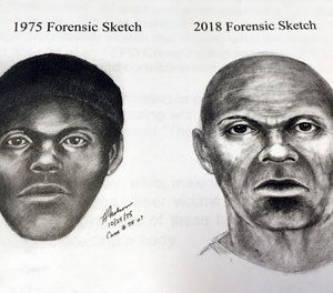 This pair of sketches provided by the San Francisco Police Department, Wednesday, Feb. 6, 2019, shows what a serial killer might look like now in a cold case involving at least five stabbing deaths of gay men in the mid-1970s in San Francisco (San Francisco Police Department via AP)