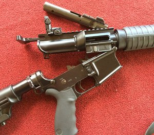 The DoubleStar 9mm upper was simple to install and was as easy as removing the 5.56mm upper and replacing it with the new 9mm upper. Note the bolt carrier group with the angled gas key. The upper is designed as a blow-back operating system which gives it recoil comparable to a similarly set up 5.56mm. (PoliceOne Image)