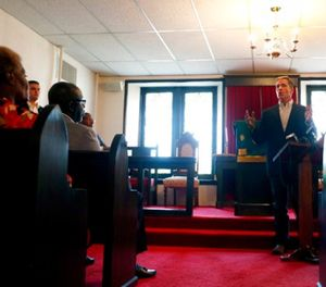 Missouri Gov. Eric Greitens speaks to civic leaders and clergy at Washington Metropolitan AME Zion Church ahead of a verdict in the trial of former St. Louis police officer Jason Stockley, Monday, Sept. 11, 2017, in St. Louis. (AP Photo/Jeff Roberson)
