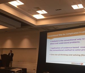 Larry M. Starr challenges health care practitioners to think outside the box at the 2015 Emergency Cardiovascular Care Update. (Photo by Carissa Caramanis O'Brien)