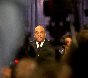 Chicago Police Superintendant Eddie Johnson answers questions during a news conference Friday, Jan. 13, 2017, in Chicago. (AP Photo/Teresa Crawford)
