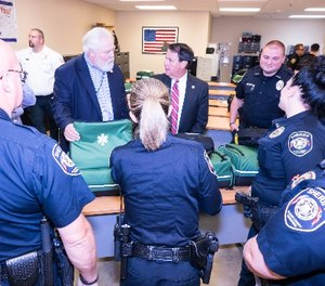 Sheriff Berrong and Mayor Mitchell meet with the EMR-certified deputies to officially kick off the program. The deputies are ready to serve the community with their specialized skill, while obtaining 30 hours of practical experience on an AMR ambulance. (Photo/Blount County Sheriff's Office)