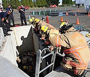 Establishing safe working areas will minimize the potential for responders falling over a drop off. (Photo/City of Portland, Ore.)