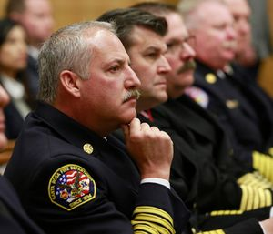 Tony Gossner, chief of the Santa Rosa Fire Department, second from left, waits with other fire officials to testify before a joint legislative hearing on last year's devastating wildfires. (AP Photo/Rich Pedroncelli)