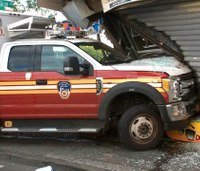 2 FDNY responders hurt after ambulance careens into storefront