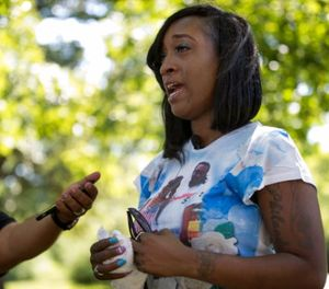 In this July 6, 2017 file photo, Diamond Reynolds, the girlfriend of Philando Castile, talks in St. Paul, Minn., about what her life has been like since Castile was fatally shot during a traffic stop a year ago. (Jerry Holt /Star Tribune via AP)