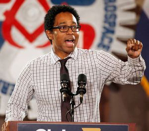 Democratic candidate for St. Louis County prosecuting attorney Wesley Bell speaks during a campaign rally in Bridgeton, Mo. Wesley, the new St. Louis County prosecuting attorney, is so far declining comment on whether he will consider reopening the investigation into the fatal police shooting of Michael Brown in Ferguson. Brown, a black and unarmed 18-year-old, was fatally shot by white officer Darren Wilson on Aug. 9, 2014, setting off months of protests. (AP Photo/Jeff Roberson, File)