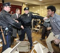 Video: Protesters shove cops, throw chairs after DA says Pa. OIS isn't crime