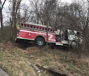 The crashed fire engine. (Photo/Whitley County Sheriff Department)