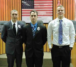 Stephen Mader, middle, pictured at his swearing-in ceremony. (Photo/Weirton Police Facebook)