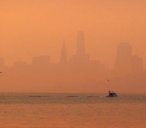 The San Francisco skyline is obscured by smoke and haze from wildfires Thursday, Oct. 12, 2017, in this view from Sausalito, Calif. (AP Photo/Eric Risberg)