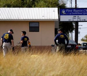 Law enforcement officials investigate the scene of a shooting at the First Baptist Church of Sutherland Springs, Monday, Nov. 6, 2017, in Sutherland Springs, Texas. (AP Photo/Eric Gay)
