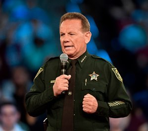Broward County Sheriff Scott Israel speaking before a CNN town hall broadcast, at the BB&T Center, in Sunrise, Fla. (Michael Laughlin/South Florida Sun-Sentinel via AP, File)