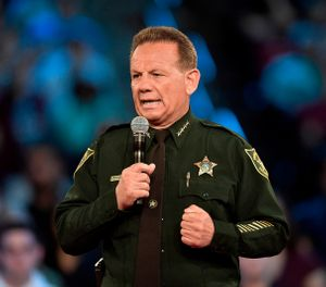 Broward County Sheriff Scott Israel speaking before a CNN town hall broadcast, at the BB&T Center, in Sunrise, Fla. New Florida Gov. Ron DeSantis suspended Broward County Sheriff Scott Israel on Friday, Jan. 11, 2019 over his handling of February's massacre at Marjory Stoneman Douglas High School.(Michael Laughlin/South Florida Sun-Sentinel via AP, File)