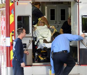 A shooting victim arrives at Broward Health Trauma Center in Fort Lauderdale, Fla. (Taimy Alvarez/South Florida Sun-Sentinel via AP)