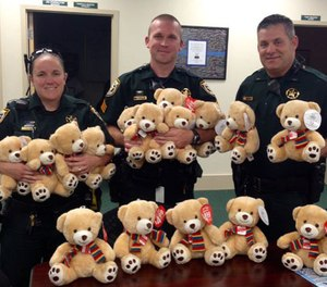 Spokeswoman Michele Nicholson said a stuffed animal is a good distraction for kids who are going through a stressful situation and don't understand what is going on. (Photo/Okaloosa County Sheriff)