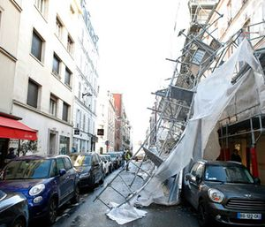A scaffolding collapsed due to a violent windstorm in Paris. (AP Photo/Thibault Camus)