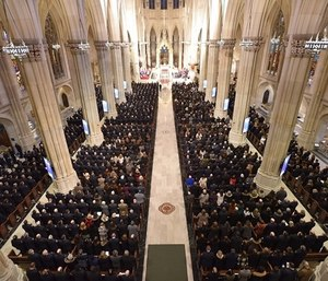 St. Patrick's Cathedral was filled with people who remembered Lt. Michael Davidson as a hero. (Photo/AP)