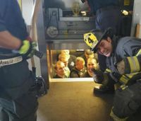 Viral photo: Firefighters save cops stuck in elevator