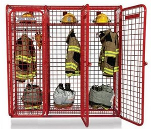 This new generation of storage locker systems can either be installed along interior walls of a fire station or mounted as freestanding lockers in between fire apparatus in the apparatus bay, or kept mobile using heavy-duty casters. (Photo/GearGrid Systems)