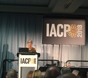 In this photo, Debra A. Dreisbach speaks to the crowd during a session at IACP 2018. (Photo/PoliceOne)