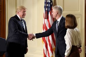 President Donald Trump announces 10th U.S. Circuit Court of Appeals Judge Neil Gorsuch as his choice for Supreme Court Justice during a televised address from the East Room of the White House in Washington, Tuesday, Jan. 31, 2017. (AP Photo/Susan Walsh)