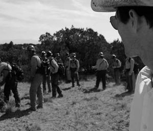Director Joseph Kosinski on set where the cast is training with a former Granite Mountain hotshot firefighter. (Photo courtesy AZ Central)