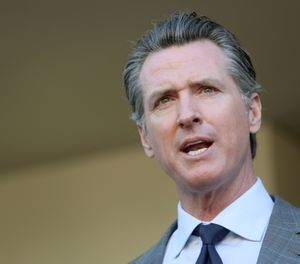 California Gov. Gavin Newsom speaks to members of the media at Long Beach Community College on February 19, 2019, in Long Beach, Calif. (Dania Maxwell/Los Angeles Times/TNS)
