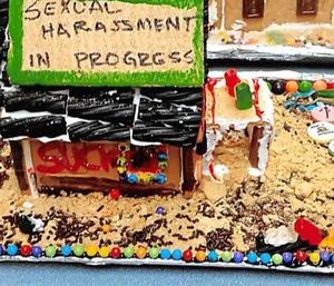 """The lawsuit claimed that a 2015 holiday party featured a gingerbread house that had """"sexual harassment in progress"""" written on the roof. (Photo/District Court)"""