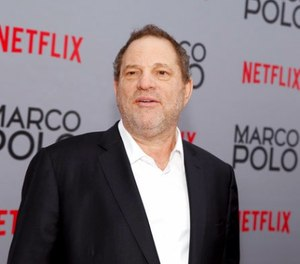 """In this Dec. 2, 2014, Harvey Weinstein attends the season premiere of the Netflix series """"Marco Polo"""" in New York. (Photo by Andy Kropa/Invision/AP, File)"""