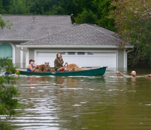 A family evacuates their Meyerland home in Houston. (Photo/AP)