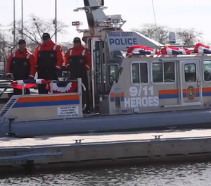 """Nassau County's new 39-foot Safe boat, named """"9/11 Heroes"""" after seven officers who died of 9/11-related illnesses. (Photo/Newsday)"""