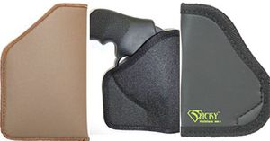Pictured, from left to right, the TecGrip Pocket Holster, the 701 Pocket Holster, and Sticky Holster. (Photo/Blackhawk, Gould & Goodrich, Sticky Holsters)
