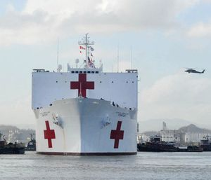 The Military Sealift Command hospital ship USNS Comfort arrives in San Juan, Puerto Rico. (Photo/U.S. Air Force Capt. Christopher Merian/U.S. Navy via AP)