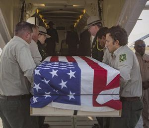 Brent Witham made his final journey home in an orange-and-white Forest Service airplane. (Photo/Twitter)