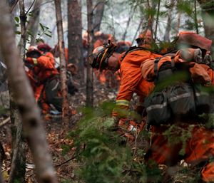 Inmate firefighters cut down trees along Highway 29 as wildfires continue to burn near Calistoga, Calif. (AP Photo/Jae C. Hong)