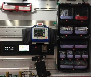Ferno inTraxx system for mounting and storing EMS supplies and equipment. (Photo by Greg Friese)