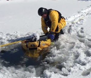 To avoid becoming victims themselves, firefighters need the proper protective equipment when conducting cold-water or ice rescues. (Photo/YouTube)