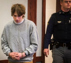Jack Sawyer appears in Vermont Superior Court for his hearing, Tuesday, April 17, 2018, in Rutland, Vt., to determine whether bail or conditions of release should be set. (Ryan Mercer/The Burlington Free Press via AP, Pool)