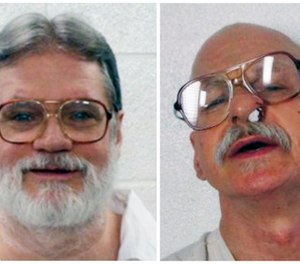 This combination of file photo from the Arkansas Department of Correction shows convicted murderers from left, Bruce Ward and Jack Greene. The Arkansas Supreme Court on Thursday, Nov. 1, 2018, struck down a law that gives the state's prison director authority to determine whether an inmate is mentally competent to be put to death, siding with the two convicted murderers who were spared from execution last year. Justices ruled that the competency law violated due process rights guaranteed in the Arkansas and U.S. Constitutions. (Arkansas Department of Correction via AP, File)