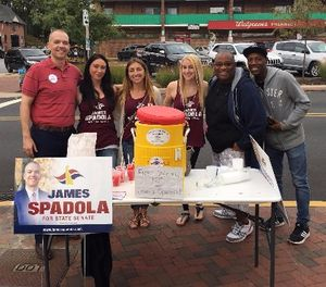 James Spadola (far left) and friends give out free water ice in Wilmington, Delaware, September 2016. (Photo/James Spadola)