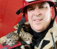 Firefighters save kittens from smoking tower before training exercise