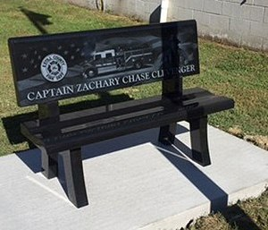 Fire department bench in honor of firefighter Zachary Clevenger. (LEX18 Photo)