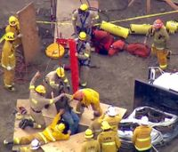 LA firefighters rescue man from deep excavation