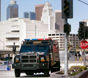 In this April 16, 2013 file photo, a Los Angeles County Sheriffs Counter Terrorism Unit armored truck is seen outside Union Station in Los Angeles, after the city increased security following deadly bombings at the Boston Marathon. (AP Photo/Damian Dovarganes, File)