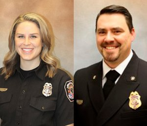 "Ashley Blakely (left) alleges that Deputy Chief John Patterson (right) pursued her in ""a very direct and inappropriate way."" (Photo/Jackson County Fire District)"